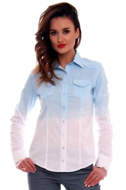 Koszula dopasowana ombre CMK567 niebiesko-biała