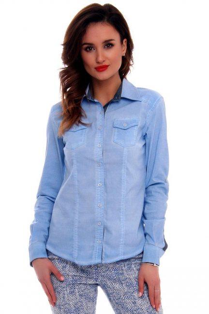 Koszula dopasowana gładka CMK63 błękitna