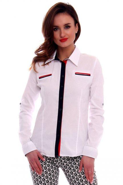 Koszula dopasowana gładka CMK571 biała
