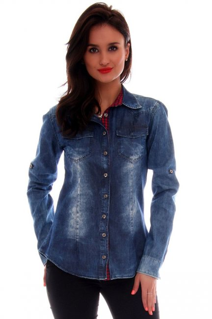 Koszula Bluzki Jeansowa Cosmosmoda Niebieska Cmk118 Modna dhsQxtrC