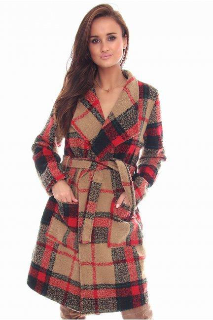 Płaszcz stylowy wiązany w pasie
