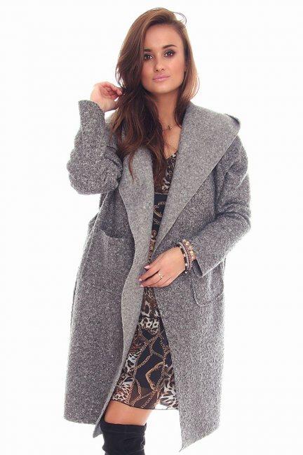 Płaszcz damski z kapturem CMK90 szary