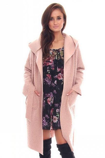 Płaszcz damski z kapturem CMK90 różowy