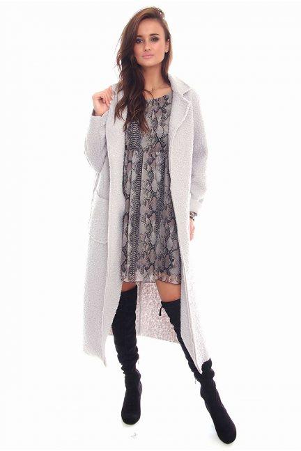 Płaszczyk modny długi CMK92 szary