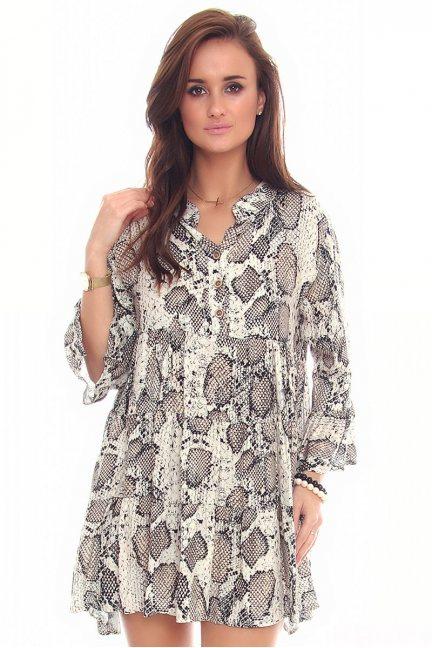 Sukienka mini z guzikami CMK94 beżowa