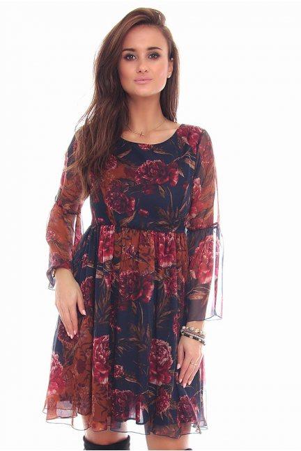 Sukienka modna kwiaty CMK95 granatowa
