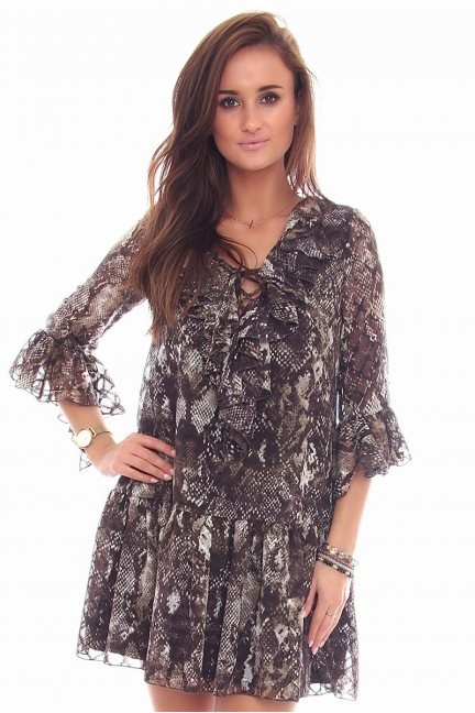 Sukienka wiązany dekolt CMK97 brązowa