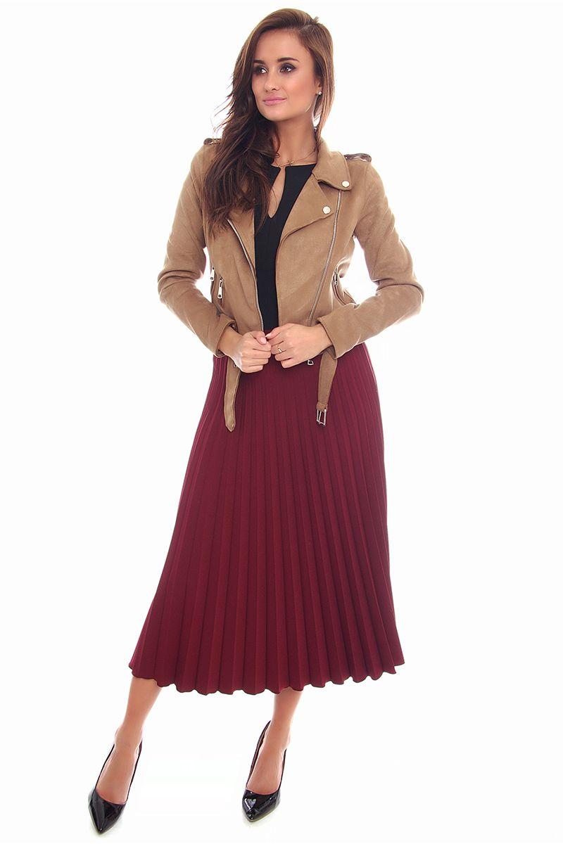 Spódnica plisowana midi CMK98 bordowa modne spódnice sklep