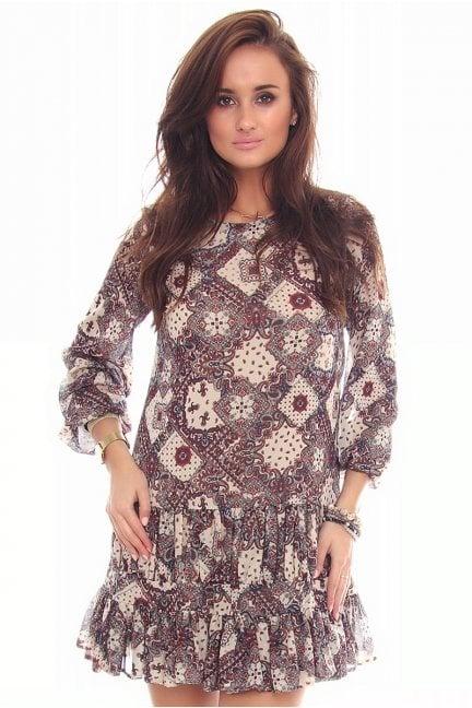Sukienka damska wzór CMK99 beżowa