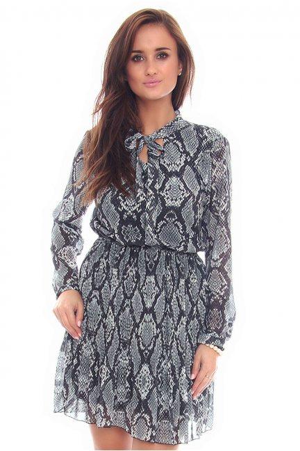 Sukienka mini wiązana CMK101 szara
