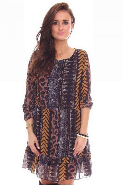 Sukienka kolorowy wzór CMK102 brązowa