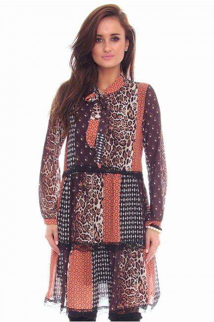 Sukienka panterka koronka CMK103 brązowa