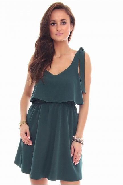 Sukienka wiązane ramiączka zielona