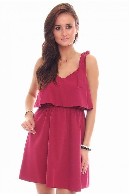 Sukienka wiązane ramiączka CMK108 bordowa