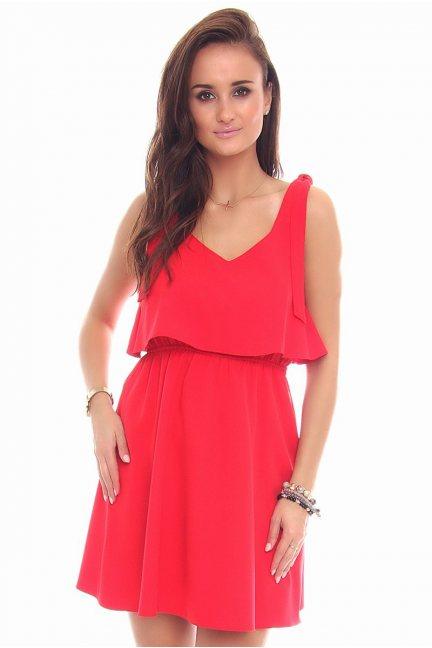Sukienka wiązane ramiączka CMK108 czerwona