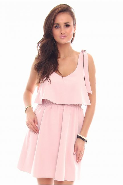 Sukienka wiązane ramiączka CMK108 różowa