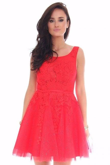 Sukienka tiulowa z gipiurą CMW11 czerwona