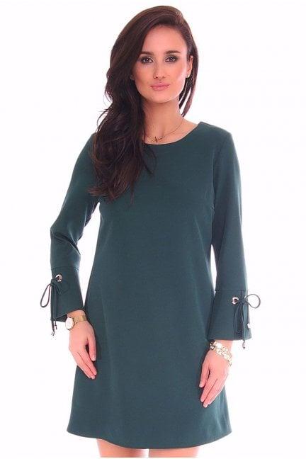 223228e19494 Sukienka wiązane rękawy CMK114 granatowa - Sukienki trapezowe ...