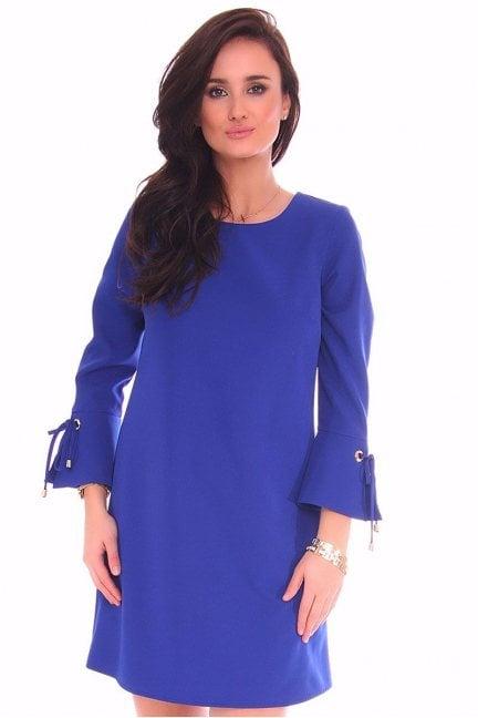 Sukienka wiązane rękawy CMK114 chabrowa