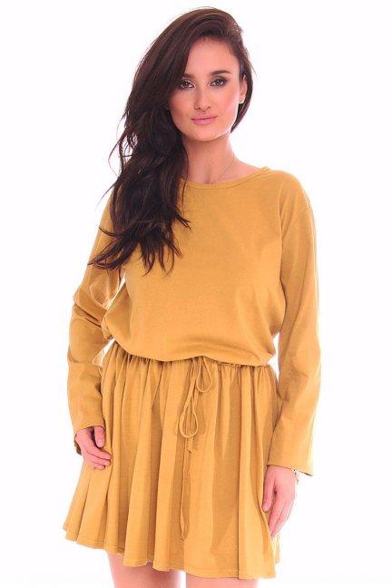 Sukienka mini wiązana CMK115 musztardowa