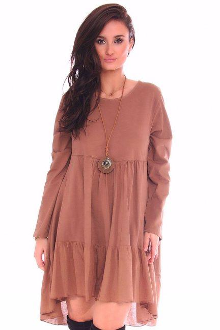 Sukienka mini dłuższy tył CMK116 brązowa