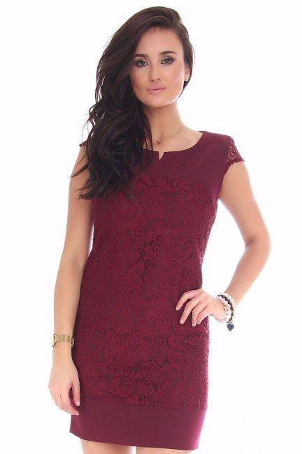 Sukienka mini z koronką CMK42 bordowa