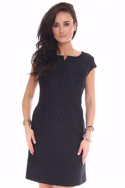 Sukienka mini z koronką CMK42 czarna