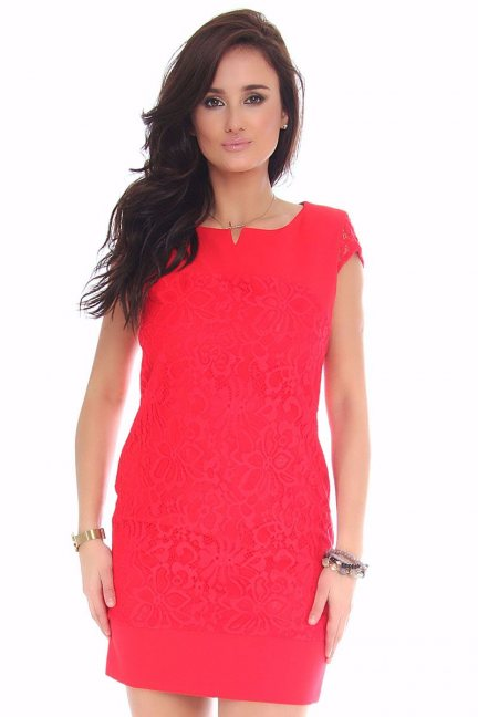 Sukienka mini z koronką CMK42 czerwona
