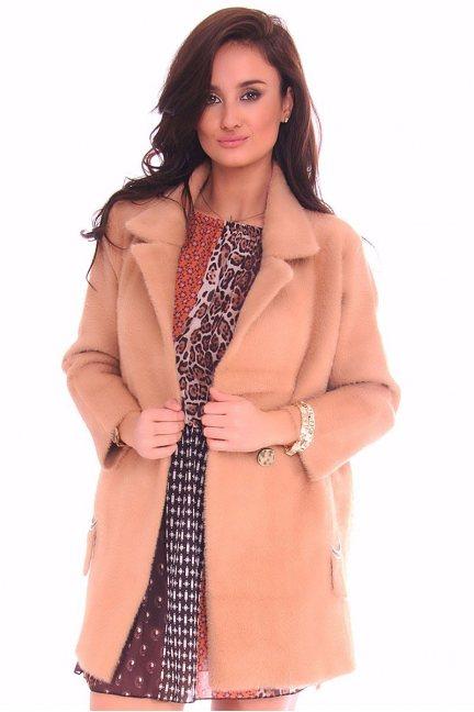Płaszcz damski krótki z alpaki camel