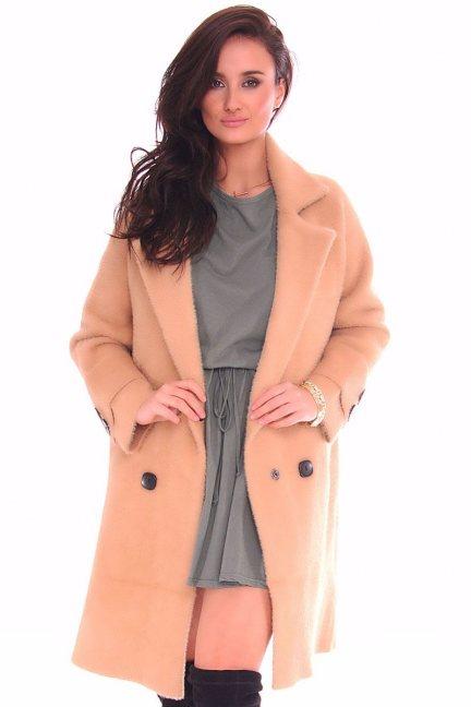 Płaszcz elegancki zapinany CMK121 camel