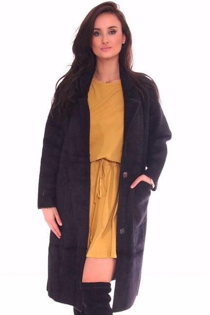 Płaszcz z alpaki damski długi czarny