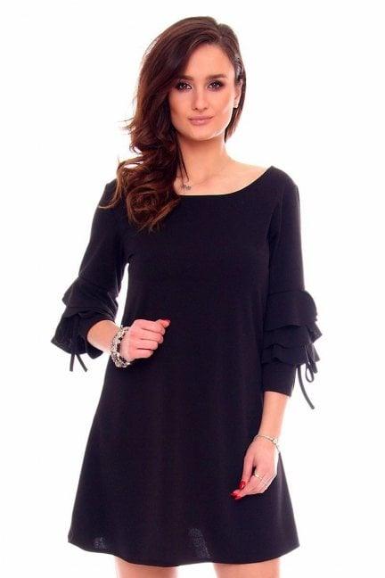 Sukienka trapez falbanki CMK910 czarna