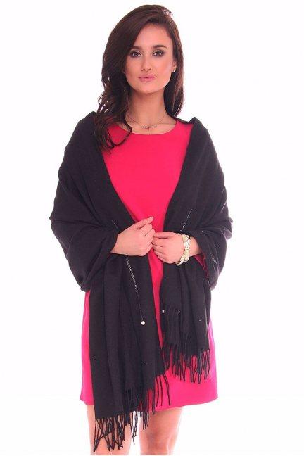 Szalik modny z frędzlami CMS82 czarny