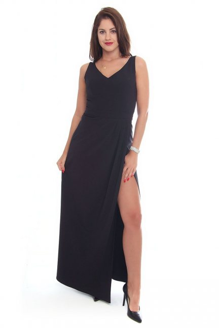 Sukienka z rozporkiem maxi CMK109 czarna