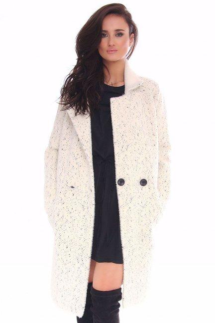 Płaszcz damski z kieszeniami CMK125 ecru
