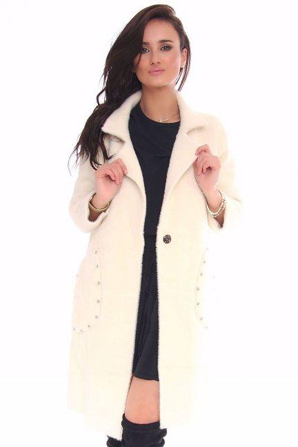 Płaszcz elegancki cekiny CMK126 ecru