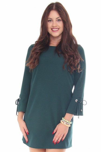 Sukienka wiązane rękawy CMK114 zielona