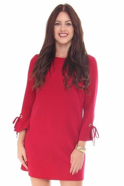 Sukienka wiązane rękawy CMK114 bordowa