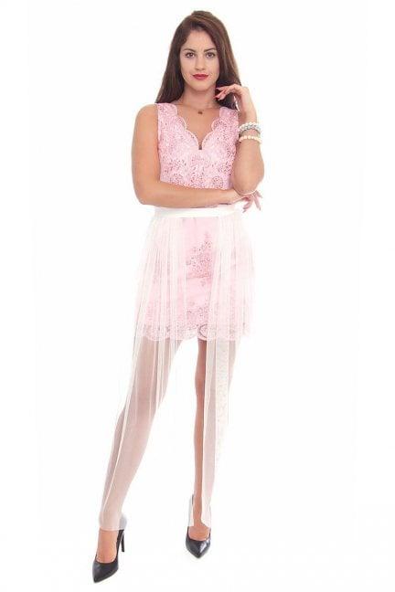 Halka maxi tiulowa modna biała