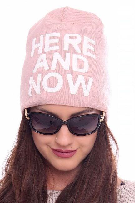 Czapka modna z napisem CMC088 różowa