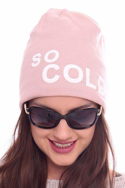 Czapka ciepła napis So Cold CMC089 różowa