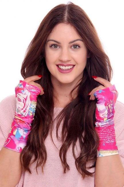 Rękawiczki modne kolorowe CMR04 fuksja