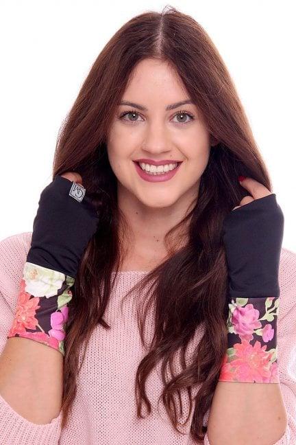 Rękawiczki modne w kwiatki CMR08 czarne