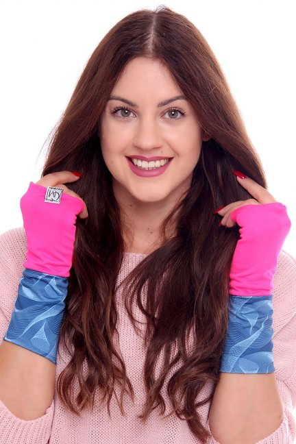 Rękawiczki modne wzór CMR08 fuksja