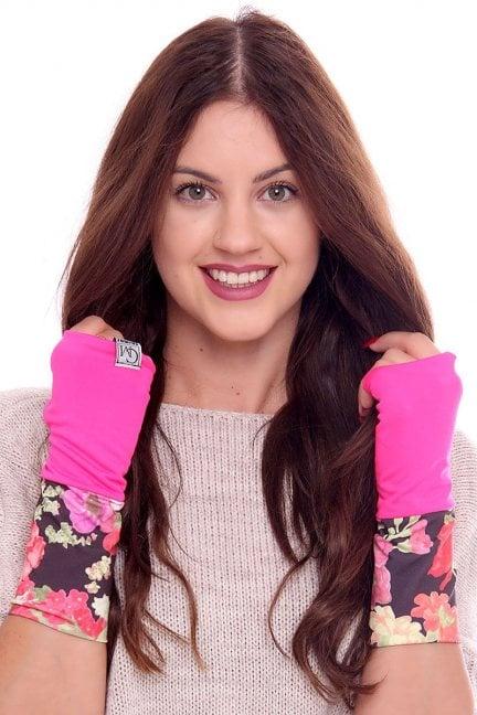 Rękawiczki modne w kwiatki CMR08 fuksja