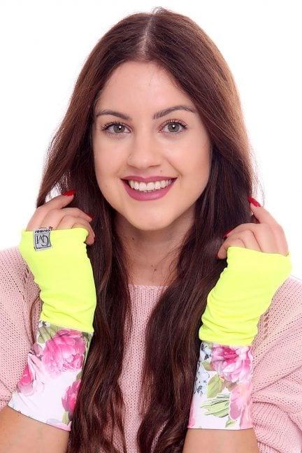 Rękawiczki modne w kwiatki CMR08 żółte