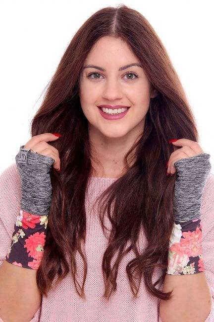 Rękawiczki modne w kwiatki CMR08 szare