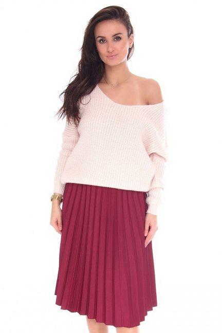Spódnica modna plisowana CMK131 bordowa