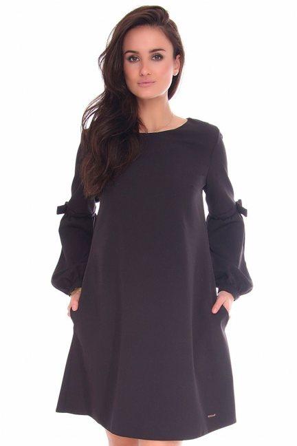 Sukienka trapez bufki CMK380 czarna