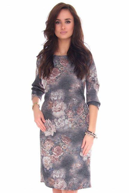 Sukienka midi w kwiaty CMK132 szara